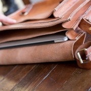 Laptop Bag Wood Table Inside