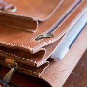 Laptop Bag Wood Table Inside Left